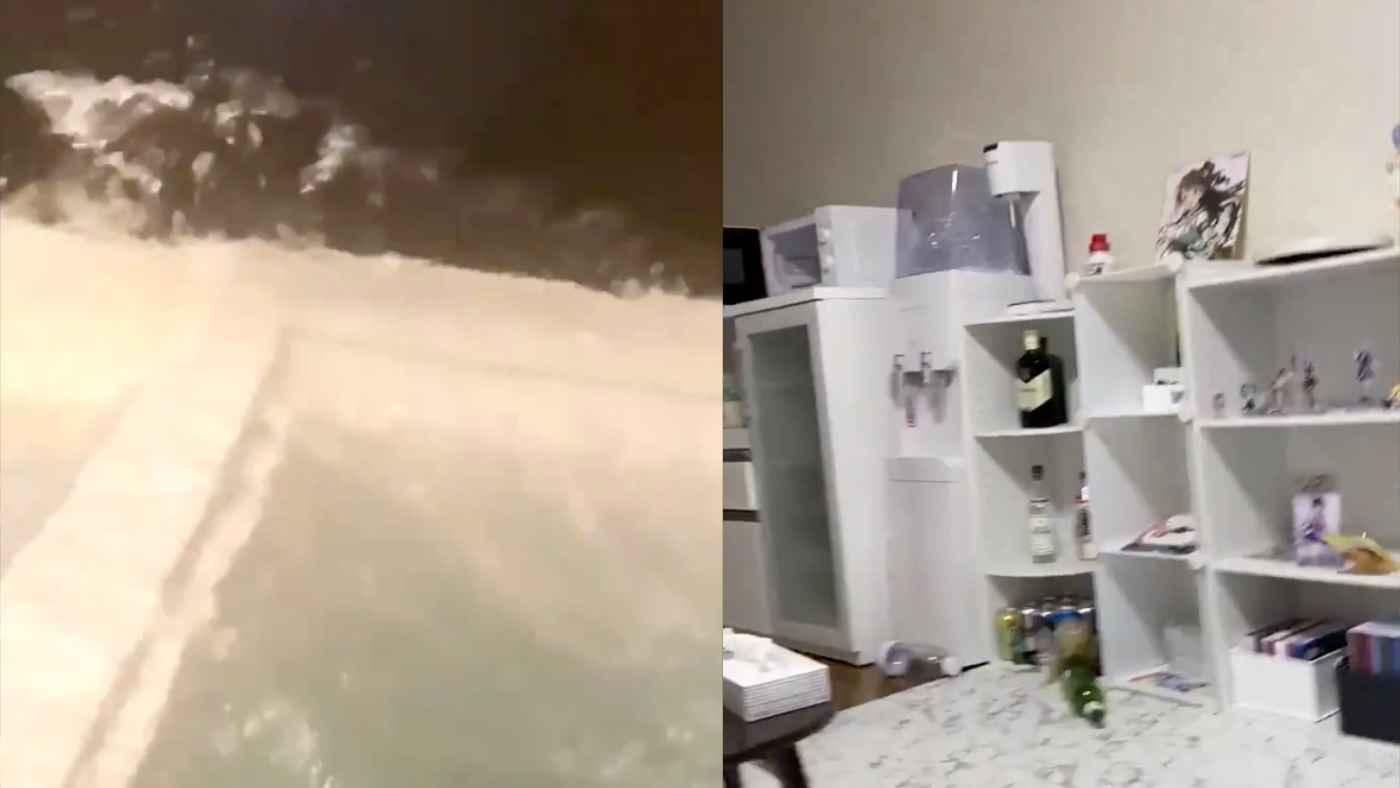 【地震】2021/2/13Twitterに投稿された各地の揺れの動画。かなりの大きな揺れの様子