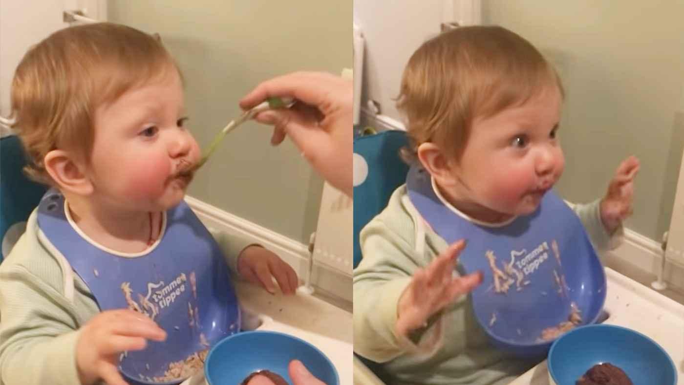 初めての砂糖製品解禁!生まれて初めて甘いものを食べた赤ちゃんの反応が可愛すぎると話題に!