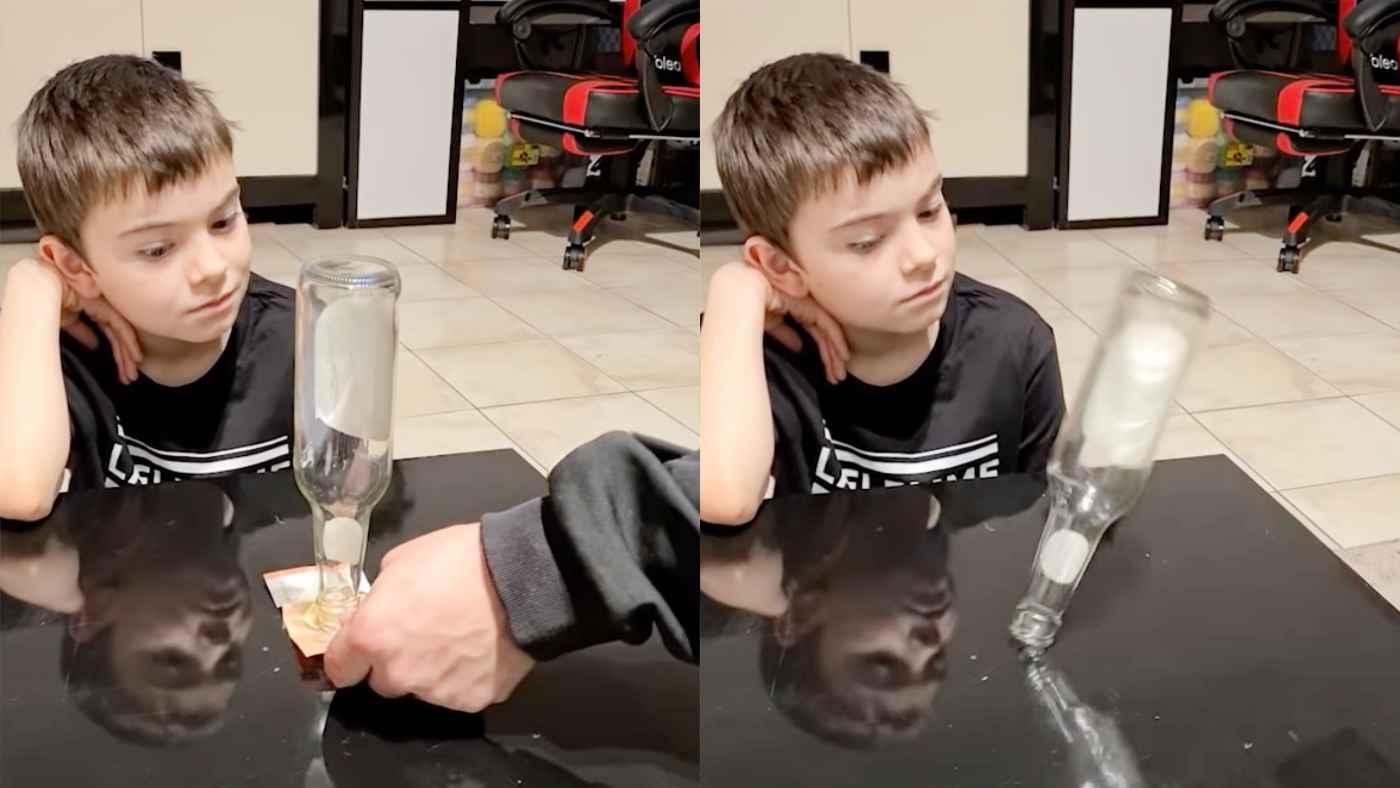 ビンに触れず倒さないで下のお札を取ればもらえるゲーム。少年の考えた方法が凄すぎて父もポカーン!