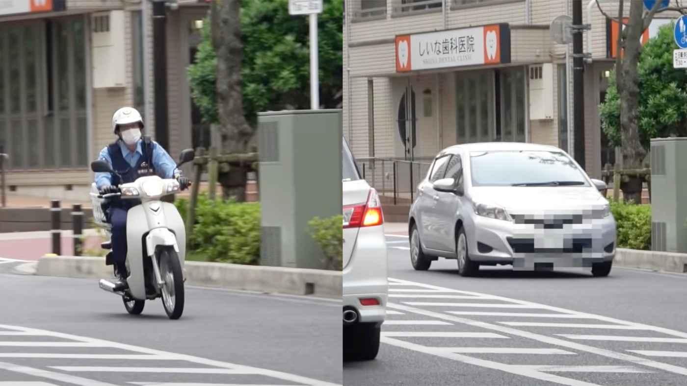横断歩道で歩行者を妨害したドライバー。スーパーカブの警官がかっこいいと話題に!