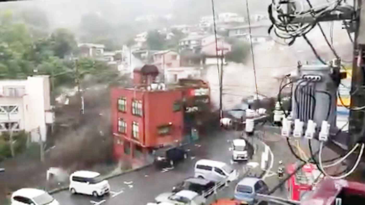 【速報】SNSに動画続々!熱海で大規模な土砂崩れで多くの家が流され19人が安否不明!