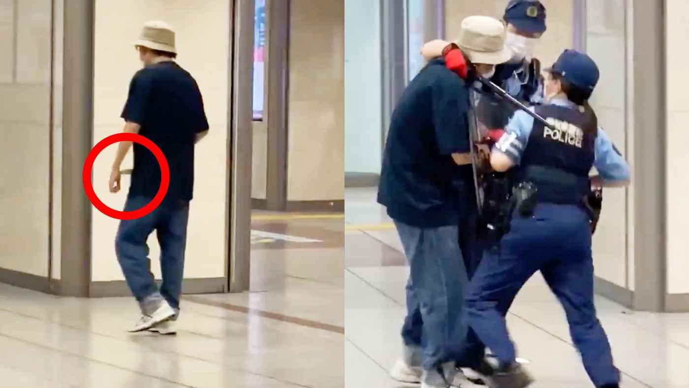 「女性警官すごい」名古屋駅で刃物を持ってうろつく男、警察官が取り押さえる瞬間の動画!