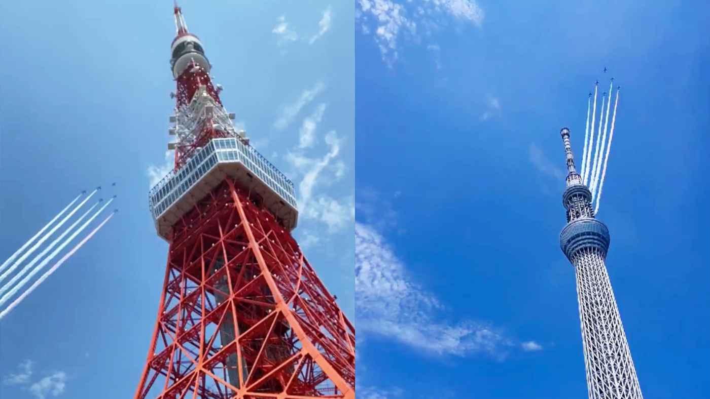 【鳥肌】ブルーインパルス、東京の空に五輪描く!東京で撮影された素晴らしい動画まとめ