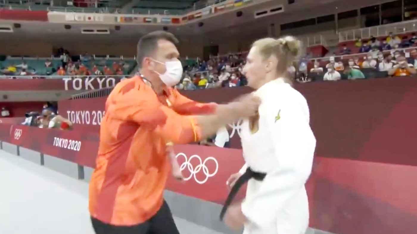 東京五輪の柔道の試合で、コーチが平手打ちで選手に気合を入れた動画が物議!しかし選手自身が「私が頼んだ」と反論!