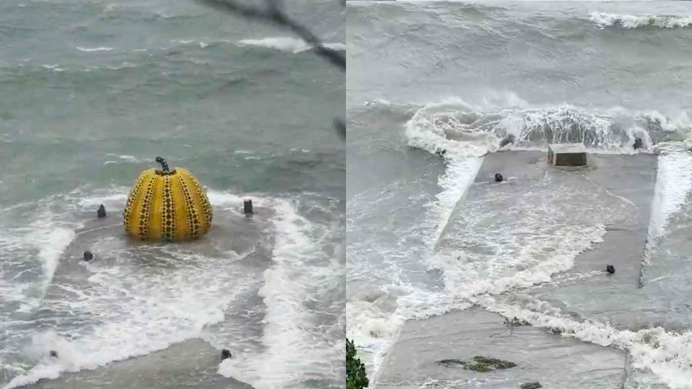 台風9号で直島のシンボルのかぼちゃアート草間彌生さんの「南瓜」が流されてしまう!