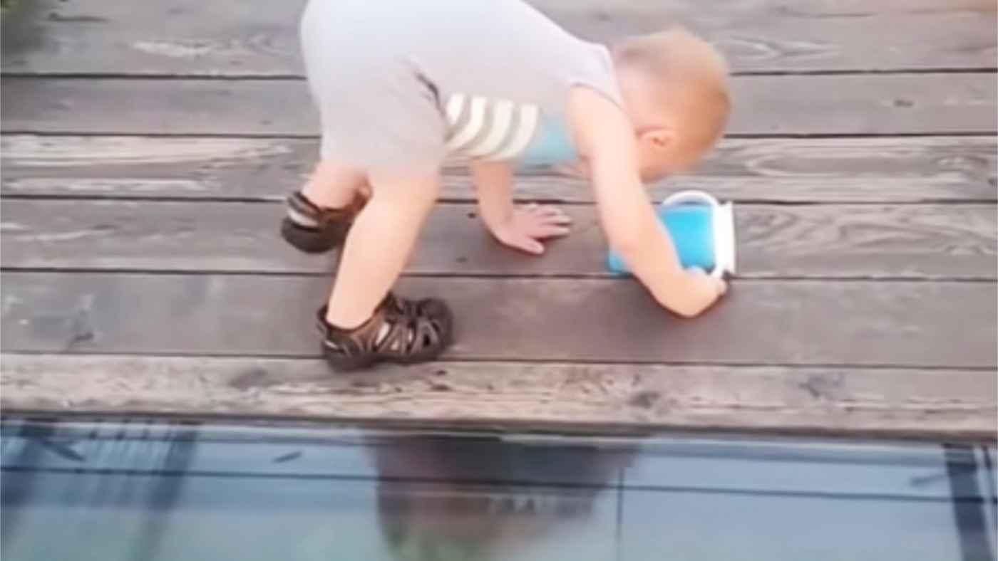 「賢い」床がガラスの橋にきた赤ちゃんの行動に、素晴らしいと絶賛の声!
