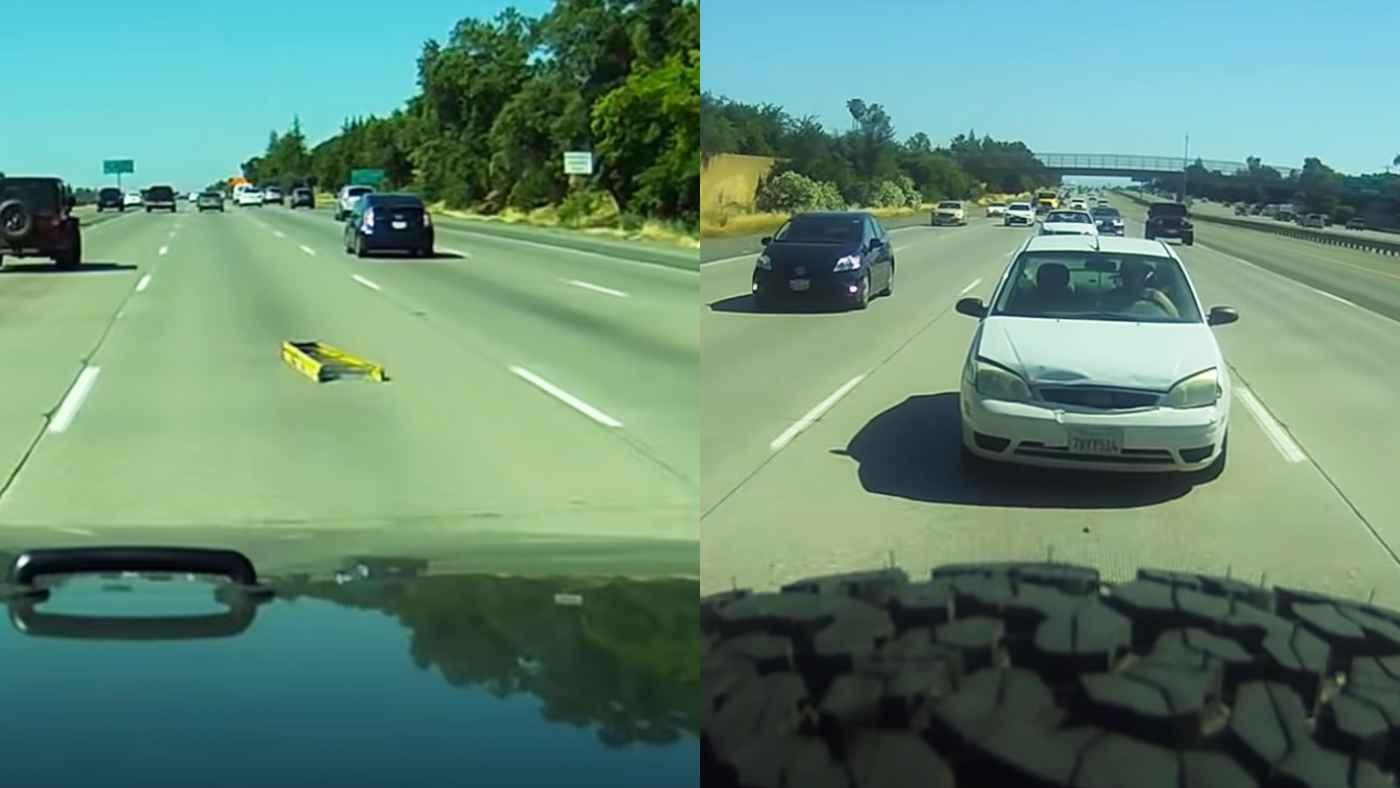 【自業自得】高速道路で煽り運転の後続車、落ちていたハシゴに気づかず残念なことになってしまう!